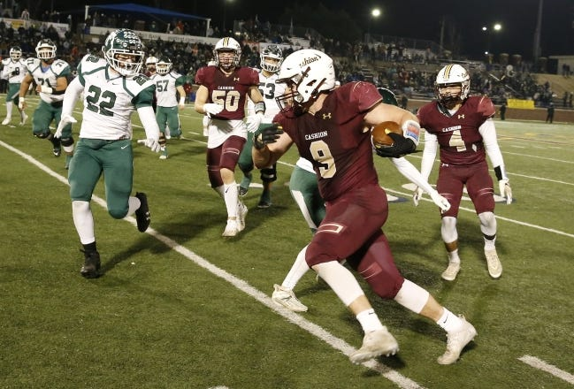 Cashion´s Caden Harrell (9) runs down the sideline during the Class A state championship on Dec. 19 at Wantland Stadium in Edmond. [Alonzo J. Adams/for The Oklahoman]
