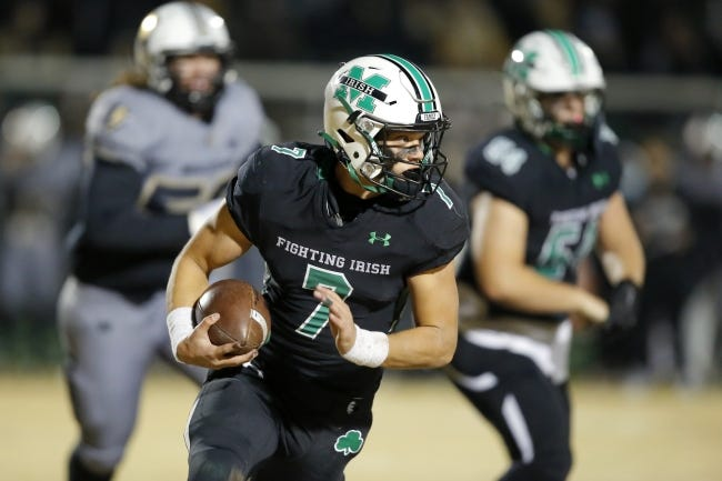 Quarterback Luke Tarman led McGuinness to a 10-3 record and an appearance in the Class 5A state finals in 2020. [Bryan Terry/The Oklahoman]
