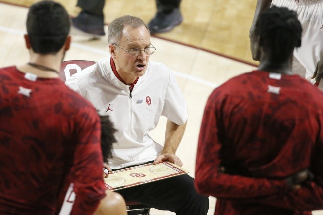 Oklahoma coach Lon Kruger talks with his team during a timeout earlier this season. Kruger leads the Sooners to Kansas State on Tuesday, looking for their first win in Manhattan since 2012. [Bryan Terry/The Oklahoman]