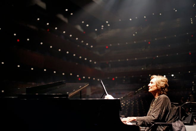 """Cloris Leachman plays the piano on the set of the movie """"I Can Only Imagine"""" at Oklahoma City's Civic Center Music Hall, Thursday, Jan. 12, 2017. [Sarah Phipps/The Oklahoman Archives]"""