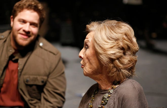 """Cloris Leachman talks with J. Michael Finley on the set of the movie """"I Can Only Imagine"""" at Oklahoma City's Civic Center Music Hall, Thursday, Jan. 12, 2017. [Sarah Phipps/The Oklahoman Archives]"""