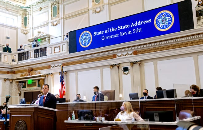 Gov. Kevin Stitt speaks during his State of the State address in the House of Representative's chamber at the Oklahoma state Capitol in Oklahoma City, Okla. on Monday, Feb. 1, 2021.  [Chris Landsberger/The Oklahoman]