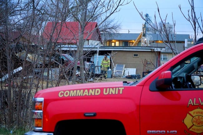 Four people, including two firefighters, died in a house fire in Waynoka early Friday. [Jordan Green, for The Oklahoman]