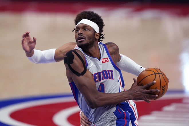 Pistons forward Jerami Grant entered Monday's game at Denver averaging 23.6 points, 5.9 rebounds and 2.9 assists. [AP Photo/Carlos Osorio]