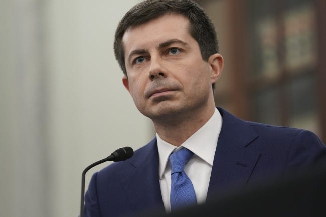 In this Jan. 21, 2021, file photo, then-Transportation Secretary nominee Pete Buttigieg speaks during a Senate Commerce, Science and Transportation Committee confirmation hearing on Capitol Hill in Washington. (Stefani Reynolds/Pool via AP)