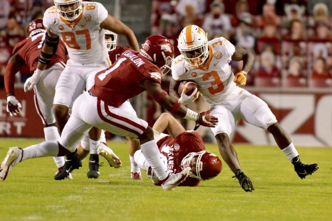 Running back Eric Gray (3) left Tennessee after last month's coaching change to transfer to Oklahoma. [AP Photo/Michael Woods]