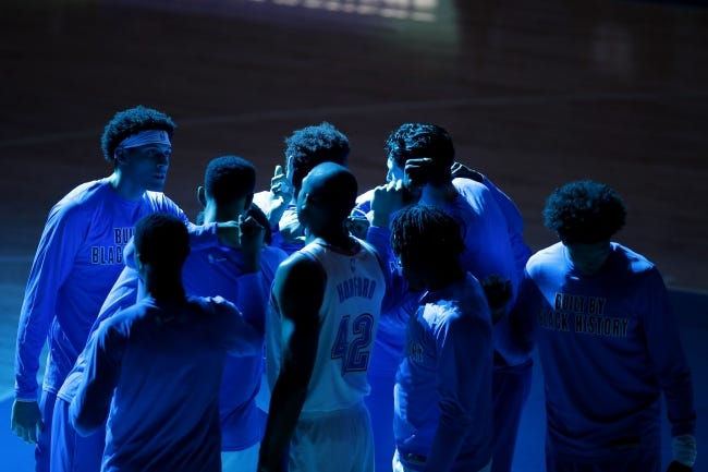 The Thunder gather before an NBA basketball game between the Oklahoma City Thunder and the Houston Rockets at Chesapeake Energy Arena in Oklahoma City, Wednesday, Feb. 3, 2021. [Bryan Terry/The Oklahoman]