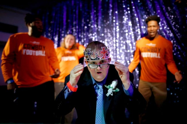 Richard Dines, a VIP guest, dances at the 2018 Oklahoma City Night to Shine prom event at Putnam City Baptist Church. [Bryan Terry/The Oklahoman Archives]