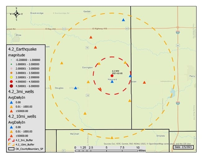 This map provided by the Oklahoma Corporation Commission shows locations of wells impacted by closure or volume reduction directives issued Friday by the agency's Induced Seismicity Department. [PROVIDED BY THE OKLAHOMA CORPORATION COMMISSION]