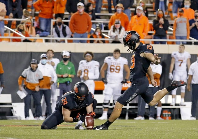 Oklahoma State's Alex Hale (19) was 13-of-14 on field goals before getting injured last season. [SARAH PHIPPS/THE OKLAHOMAN]