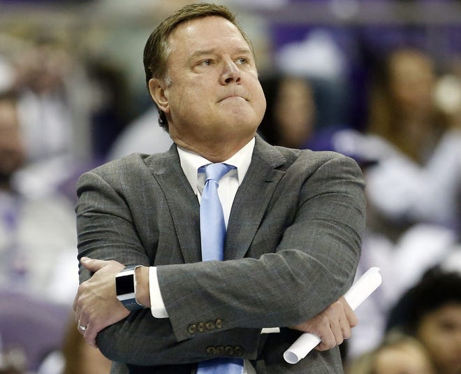 Coach Bill Self has watched his Kansas Jayhawks fall out of the top 25 men's basketball poll for the first time in 12 years. The Jayhawks, who played Oklahoma State late Monday night, had been in the top 25 for 231 consecutive weeks. [AP Photo/Ron Jenkins, File]