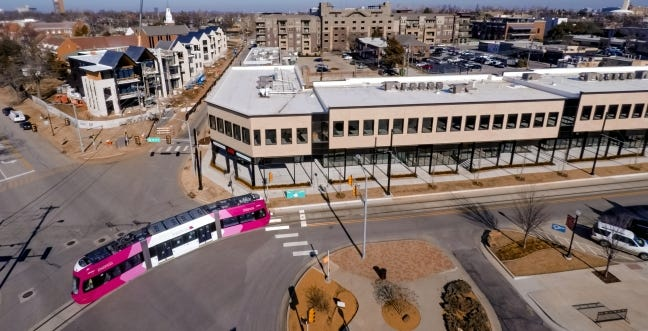 The Villa Teresa Residences, left, at 1216 Classen Drive, and The Boulevard Building, at 525 NW 11, are transforming a stretch of Dewey as a back street into a significant corridor in Midtown. [CHRIS LANDSBERGER/THE OKLAHOMAN]