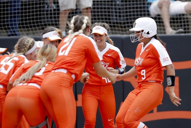 OSU's Cheyenne Factor (9) will be one of the key hitters in a potent lineup for the No. 10 Cowgirls this season. [SARAH PHIPPS/THE OKLAHOMAN]