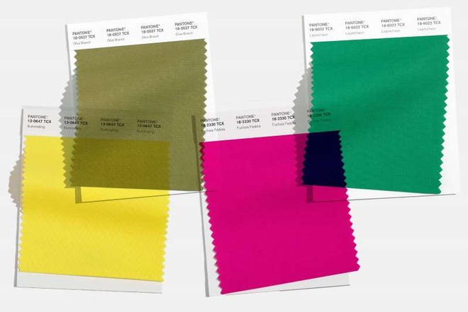 Some of the colors in Pantone Color Institute's New York Fashion Week fall color palette.