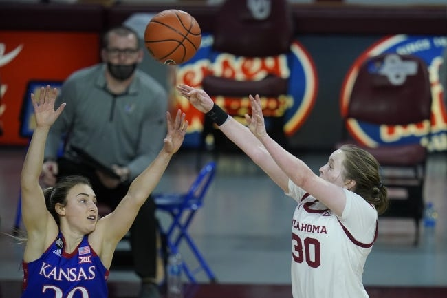 Oklahoma guard Taylor Robertson (30) shoots over Kansas guard Julie Brosseau in the first half of the Sooners' 84-81 win on Jan. 27 in Norman. [AP Photo/Sue Ogrocki]