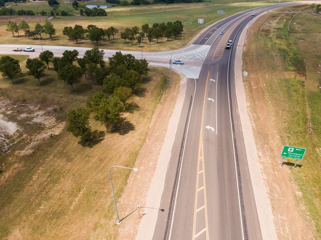 Aerial view of the improved intersection of the Chickasaw Turnpike and State Highway 1 near Fitzhugh. [PROVIDED]