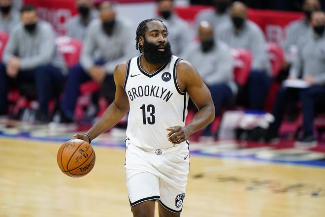 One-time Thunder guard James Harden was traded from Houston to Brooklyn last month. [AP Photo/Matt Slocum]