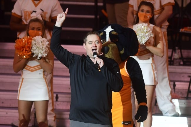 New Tennessee football coach Josh Heupel speaks during a college basketball game between Tennessee and Kansas on Jan. 30 in Knoxville, Tenn. [Caitie McMekin/Knoxville News Sentinel]