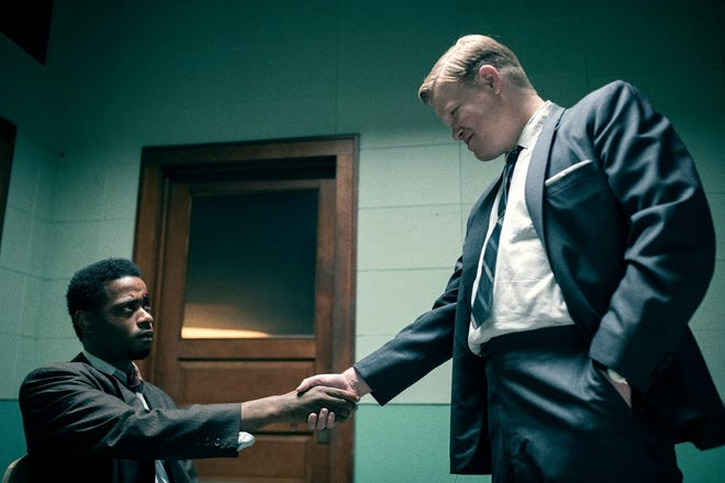 """LaKeith Stanfield, left, and Jesse Plemons appear in """"Judas and the Black Messiah."""" Plemons will play another FBI agent in """"Killers of the Flower Moon,"""" to film in Oklahoma starting in spring. [Warner Bros. photo]"""