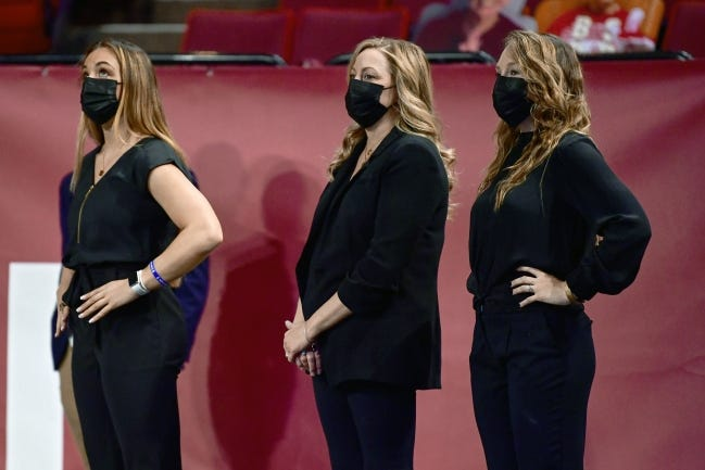 Former NCAA all-around champion Maggie Nichols (left) is in her first season as a student assistant coach working with OU women's gymnastics coach K.J. Kindler (center) and assistant Ashley Kerr. [SoonerSports.com/Joshua R. Gateley]