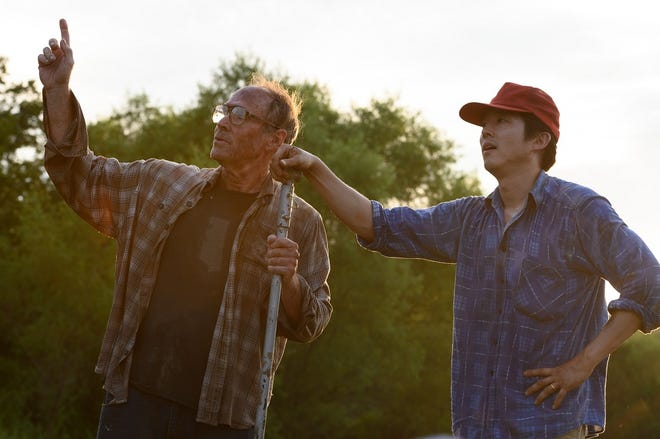 """Will Patton, left, and Steven Yeun star in writer-director Lee Isaac Chung's movie """"Minari,"""" which filmed in the Tulsa area in 2019. [Melissa Lukenbaugh/A24]"""