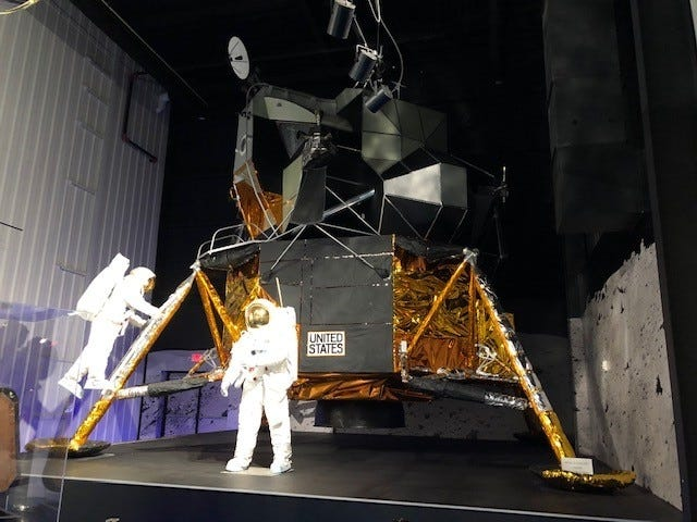"This exhibit at the Stafford Air & Space Museum is a full-scale, high fidelity replica of the Apollo 11 Lunar Module (LM) ""Eagle,"" which was the first crewed vehicle to land on the moon. It carried two astronauts, Neil A. Armstrong and Edwin E. ""Buzz"" Aldrin Jr., the first men to walk on the moon. [Provided/Oklahoma Tourism & Recreation Department]"