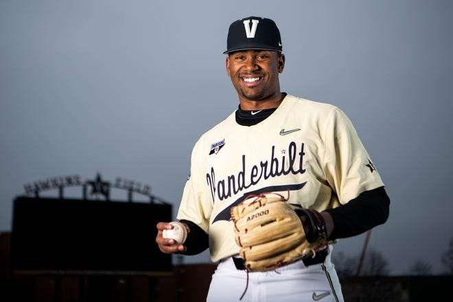 Vanderbilt pitcher Kumar Rocker is the projected No. 1 pick in the MLB draft. [Courtney Pedroza / The Tennessean]