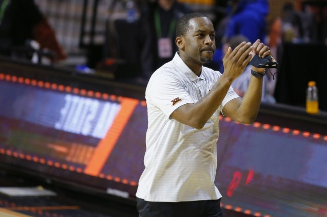 Oklahoma State coach Mike Boynton is one of just 13 Black college men's basketball coaches in the six major conferences. In his fourth season leading the Cowboys, Boynton is on a rare path while also working to improve the situation for future coaches. [Bryan Terry/The Oklahoman]