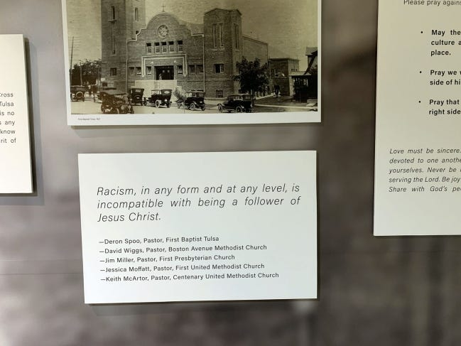 Several Tulsa pastors have signed a statement against racism that is a part of the Tulsa Race Massacre Prayer Room at First Baptist Church of Tulsa. [Photo provided]