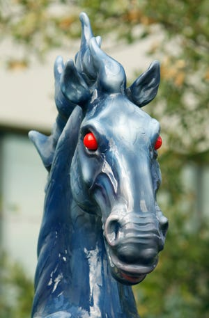 """Luis Jimenez's """"Mustang"""" sculpture is seen outside the Fred Jones Jr. Museum of Art on the campus of the University of Oklahoma (OU) on Wednesday, July 13, 2011, in Norman, Okla. The sculpture is now on exhibit in the museum's second-floor galleries. [The Oklahoman Archives]"""