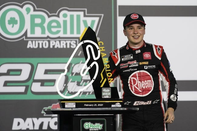 Norman native Christopher Bell celebrates Sunday after winning the O'Reilly Auto Parts 253, his first NASCAR Cup Series victory. [AP PHOTO/JOHN RAOUX]