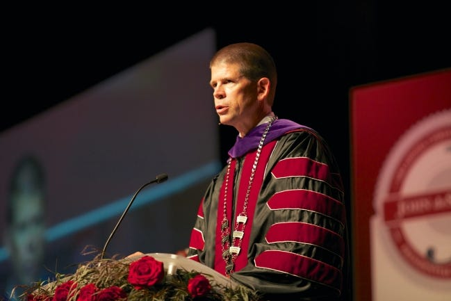 John deSteiguer was officially inaugurated as president of Oklahoma Christian University in 2012. The university's board of trustees has extended deSteiguer's contract. [PHOTO PROVIDED]