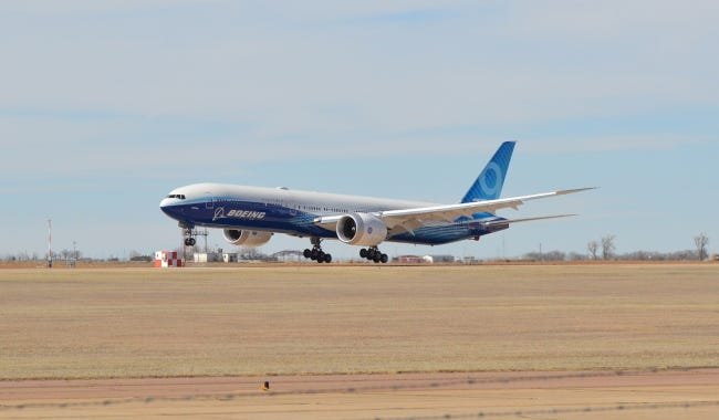 A Boeing 777-9 arrived in Oklahoma Tuesday afternoon to begin flight tests from Clinton-Sherman Airport near Burns Flat. [ROD SERFOSS/CLINTON DAILY NEWS]