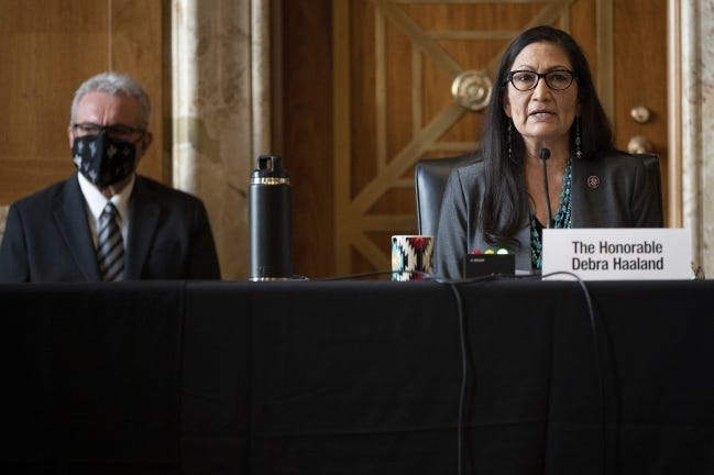 Rep. Deb Haaland, D-N.M., speaks Tuesday in Washington during the Senate Committee on Energy and Natural Resources hearing on her nomination to be Interior Secretary. [Jim Watson/Pool via AP]