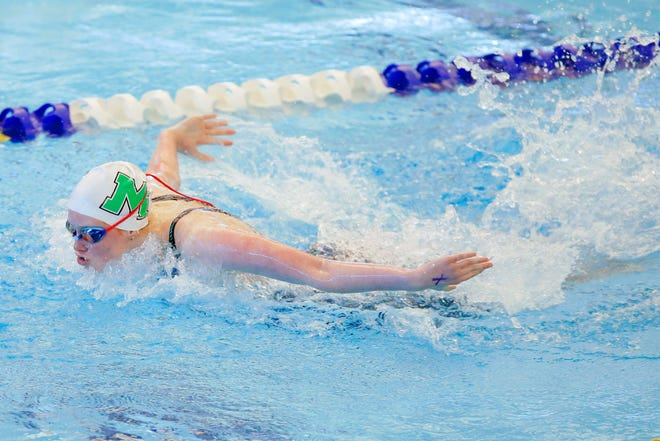 McGuinness freshman Macy Lewis competes in the 100-yard butterfly during the Class 5A state meet Tuesday in Edmond. [Bryan Terry/The Oklahoman]