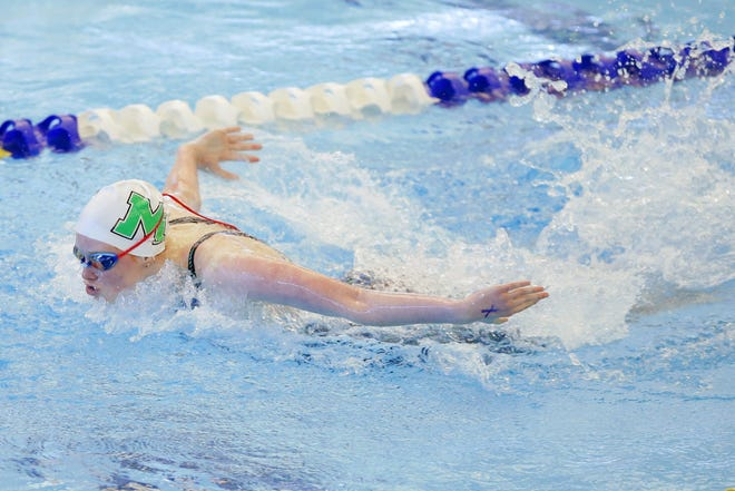 McGuinness' Macy Lewis competes in the 100-yard butterfly during the Class 5A state meet Tuesday in Edmond. [Bryan Terry/The Oklahoman]