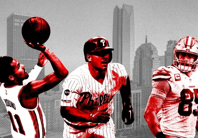 From left: Atlanta Hawks guard Trae Young, Philadelphia Phillies catcher J.T. Realmuto and San Francisco 49ers tight end George Kittle are among the top athletes under the age of 30 who grew up in the Oklahoma City metro area. [OKLAHOMAN PHOTO ILLUSTRATION]