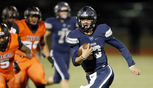 Oklahoma State quarterback commitment Garret Rangel (13), from Lone Star High School in Frisco, Texas. [Dallas Morning News]