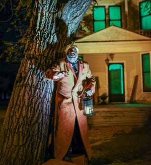 """W. Jerome Stevenson plays Ebenezer Scrooge in the Holly cast of Lyric Theatre's 2020 production of """"A Christmas Carol"""" at Harn Homestead. Lyric will return to the Harn Homestead, a living history museum near the state Capitol, for its 2021 production of Charles Dickens' yuletide classic. [K. Talley Photography]"""