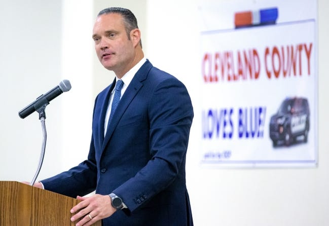 Oklahoma Speaker of the House Charles McCall addresses those gathered during the Law Enforcement Day lunch at the Cleveland County Fairgrounds on Monday, July 20, 2020, in Norman, Okla. [Chris Landsberger/The Oklahoman]