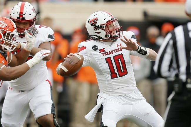 Texas Tech quarterback Alan Bowman (10) throws a pass against Oklahoma State in a 50-44 loss on Nov. 28 in Stillwater. Bowman announced last week that he is transferring to Michigan. [Bryan Terry/The Oklahoman]