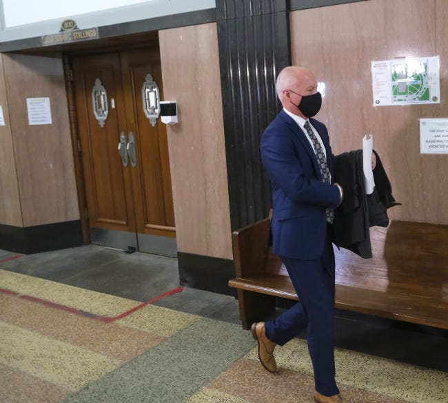 Lance Frye, Oklahoma's interim Health Commissioner, walks through the Oklahoma County Courthouse in January. Frye said this week he hopes the state's reporting of COVID-related deaths will soon be closer to the figures reported by the CDC. [Doug Hoke/The Oklahoman]