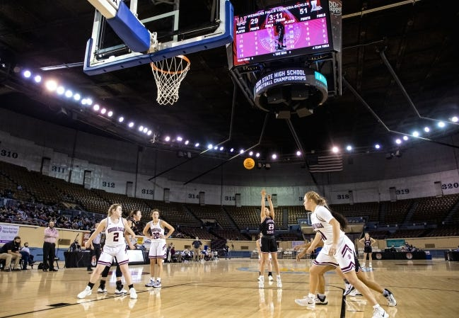 Lookeba-Sickles' Allie Harvey (23) shoots a free throw during a Class B girls basketball game against Webbers Falls at State Fair Arena in Oklahoma City on Tuesday. Lookeba-Sickles won 55-33.[Chris Landsberger/The Oklahoman]