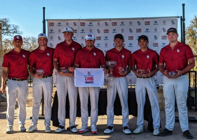 Oklahoma, which completed the three-day event at 4 under, finished a stroke ahead of Florida State and three in front of Texas A&M at the Cabo Collegiate in San Antonio on Wednesday. [PHOTO PROVIDED]