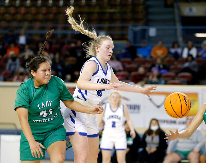 Lomega's Darcy Roberts tries to get a loose ball from Varnum's Hailey Mack during a Class B girls high school basketball state tournament game between Lomeg and Varnum at the State Fair Arena in Oklahoma City, Thursday, March 4, 2021. [Sarah Phipps/The Oklahoman]