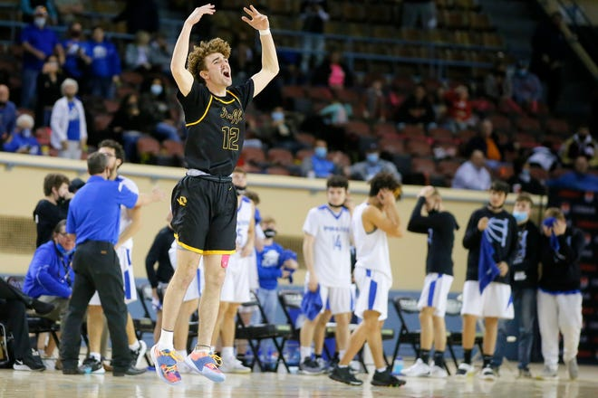 Roff's Wil Joplin celebrate in front of Cyril after their win in a Class B boys high school basketball state tournament game between Roff and Cyril at State Fair Arena in Oklahoma City, Wednesday, March 3, 2021. [Bryan Terry/The Oklahoman]