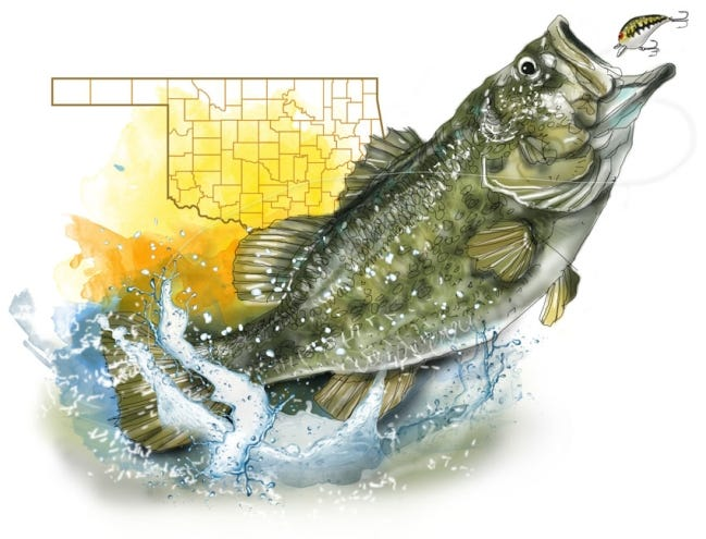 March is the best time of the year to catch a trophy largemouth bass in Oklahoma. [ILLUSTRATION BY TODD PENDLETON/THE OKLAHOMAN]