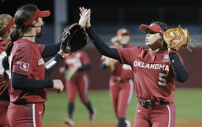 Infielder Taylon Snow (5) celebrates after the Sooners' 7-0 win against Sam Houston State on Friday night in Norman. [Ty Russell/OU athletics]