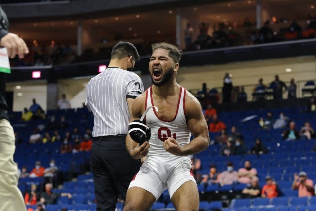 Dom Demas, Oklahoma's 141-pound junior, defeated Ian Parker of Iowa State in a thrilling, double-overtime match to extend the Sooners' lead in team scoring at the Big 12 wrestling championships on Sunday at the BOK Center in Tulsa. [Brett Rojo/For The Big 12 Conference]