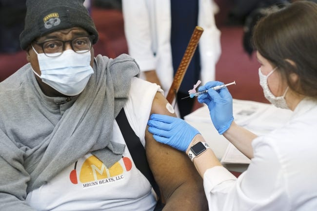 Oklahoma City resident Melvin Bunn receives his vaccination in late February. The CDC released new guidelines on Monday for those that have been fully vaccinated against COVID-19. [Doug Hoke/The Oklahoman]
